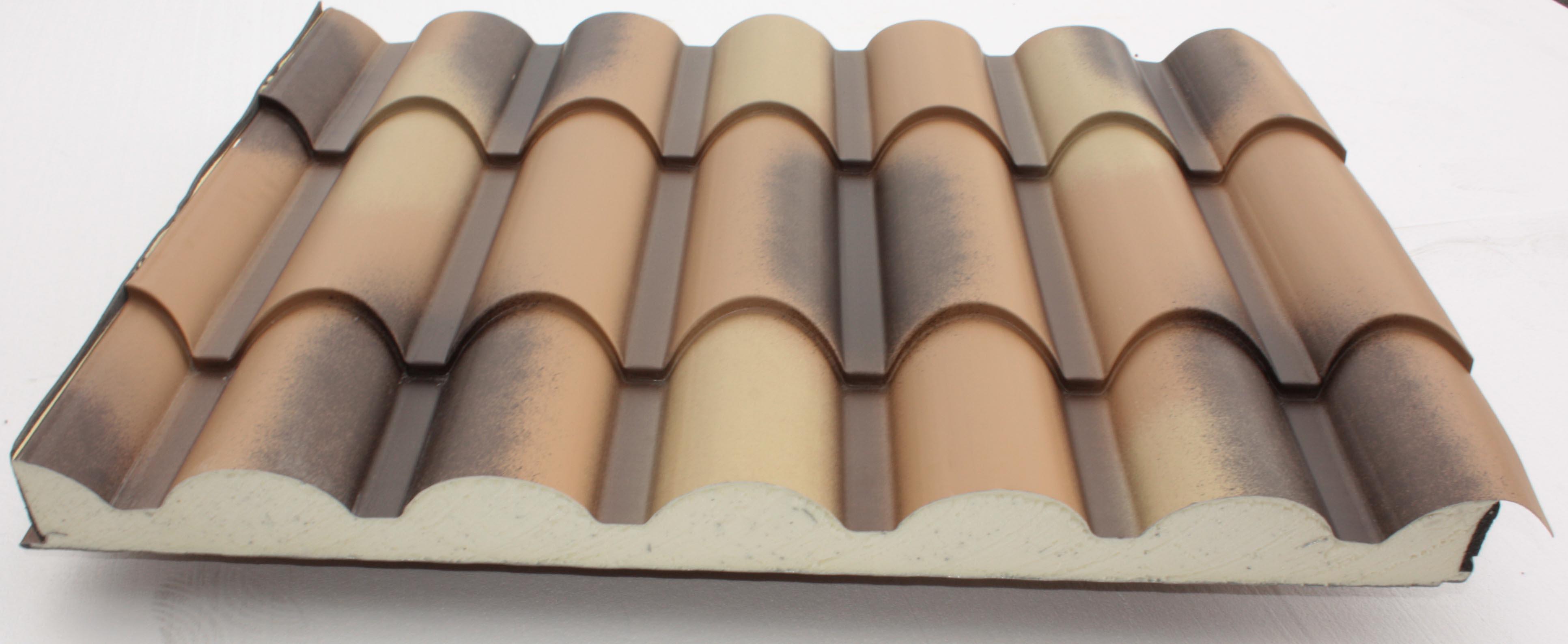 Panel sandwich tipo teja cubiertas y tejados for Cubiertas de panel sandwich imitacion teja